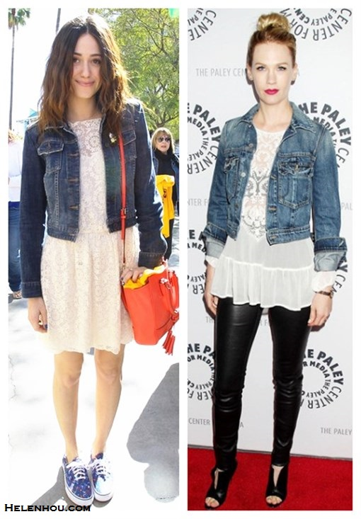 chic denim jacket outfits; how to style a white lace dress or peplum top; how to wear leather pants; street style; red carpet look; What To Wear To A Music Festival; Travel Outfits ideas;  On Emmy Rossum: blue dark wash denim jacket, Sam & Lavi Bernadette Duchess white cream Lace Dress,  Coach Legacy Leather Mini crossbody bag, Vans printed sneakers, yellow scarf;   On January Jones: Textile by Elizabeth and James denim jacket, Zara white lace crochet peplum top, Helmut Lang Stretch-Leather Leggings, Christian Louboutin peep toe leather booties, Marni bag, IDC earrings,