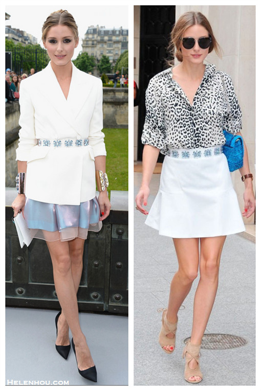 how to wear a white blazer, event outfit idea, date outfit ideas, how to wear animal print, How to Wear a drop-waist skirt; Olivia Palermo, street style, fashion week, spring/summer  On Olivia Palermo: Christian Dior white jacket, organza skirt, embellished belt, and black pointy toe pumps, white clutch; statement gold cuff,  On Olivia Palermo:Christian Dior blue bag and embellished belt,leopard print blouse, Dior aviator sunglasses, Aquazzura Sexy Thing Suede Cutout Sandal, Aryn K Seamed Drop-Waist white Flip Skirt,