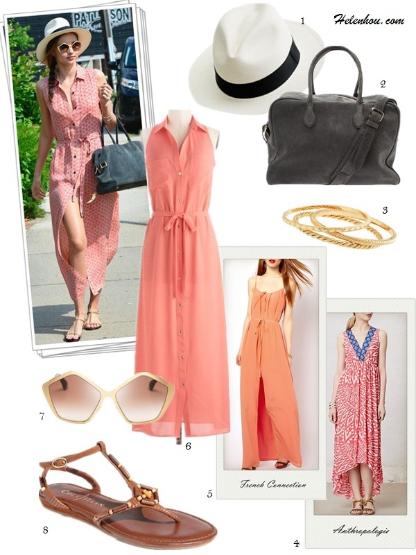 how to wear a maxi dress; cut-out dress; how to wear printed dress, how to wear studded boots; Miranda Kerr: maxi dress, strappy sandal, white hat, suede bag, floral print dress, Givenchy bag, studded boots, Isabel   Marant, miu miu, hexagonal frame sunglasses,  On Miranda Kerr: coral maxi shirt dress, gray calfskin   suede Balmain x Aurelie Bidermann Pierre Bag, strappy   sandal, miu miu star shaped Hexagonal-frame sunglasses, white straw hat. Alternatives: 1.  J.Crew Panama white straw hat, 2. BALMAIN duffle greay suede bag, 3. J.Crew gold bangle set, 4. Anthropologie Monterrico High-Low coral printed Dress,  5. French Connection Silk Maxi Dress With Thigh Split ,  6. Mod Cloth Guava Fresca shirt Dress,  7. Miu Miu Oversized Star Sunglasses, 8. Cole Haan 'Air Larissa' flat strappy Sandal ,