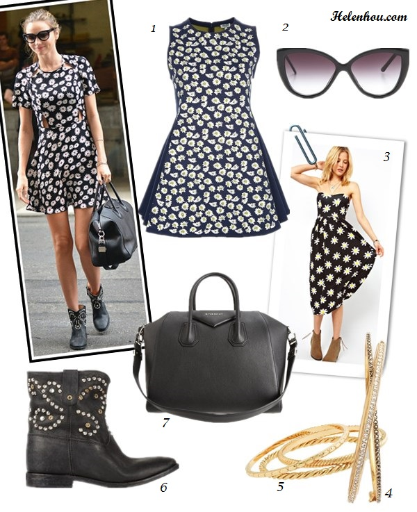 how to wear a maxi dress; cut-out dress; how to wear printed dress, how to wear studded boots; Miranda Kerr: maxi dress, strappy sandal, white hat, suede bag, floral print dress, Givenchy bag, studded boots, Isabel   Marant, miu miu, hexagonal frame sunglasses,  On Miranda Kerr: Topshop daisy print cut out dress, Isabel   Marant The Caleen studded leather concealed wedge boot,   Givenchy Antigona Bag, oversized sunglasses, glod bangle; Alternatives:1. Kenzo daisy print dress,  2. Cheap Monday Point Sunglasses,  3. ASOS Midi Bandeau Sundress in Daisy Print,  4. Nadri Channel Set Crystal Hinged Bangle,  5. J.Crew gold bangle set,  6. Isabel Marant The Caleen studded leather concealed wedge boot,  7. Givenchy Antigona Satchel Bag,