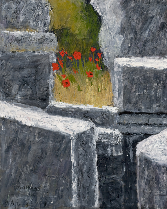 Ancient Poppies, 24X30, oil on canvas, Painter Helen Matthews