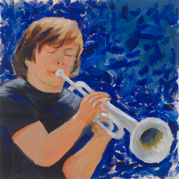 Blues 13X13, oil on panel, Painter Helen Matthews