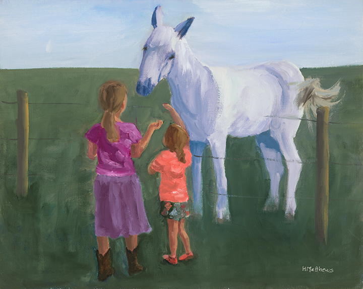 Horse Treats, oil on canvas, Painter Helen Matthews