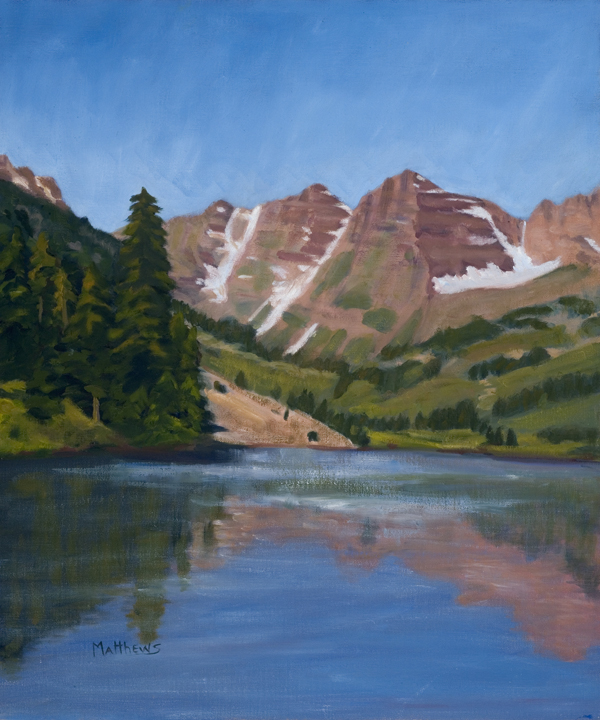 Maroon Bells, oil on canvas, Painter Helen Matthews