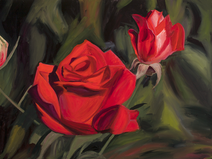 Roses are Red, 30X40 oil on canvas, Painter Helen Matthews