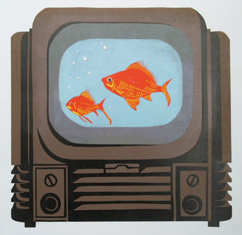 Goldfish TV – 8 Colour Reduction Linocut