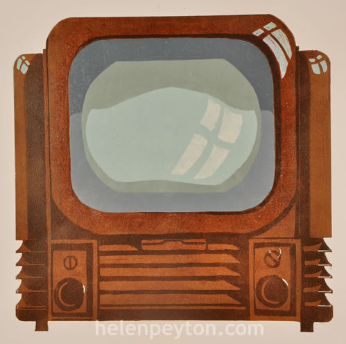 Television – 8 Colour Reduction Linocut