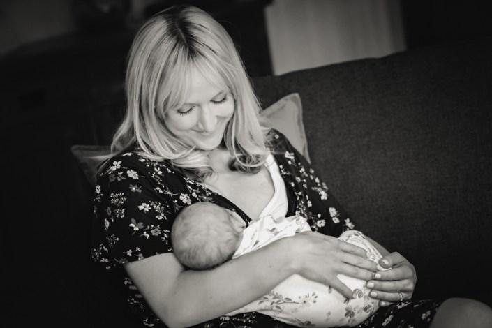 Helen Rowan Photography Lifestyle Home Newborn Baby mum feeding newborn