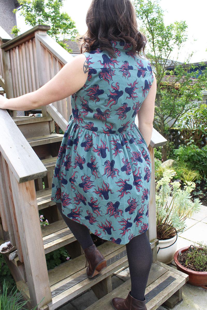 Grainline Studio Alder Shirtdress by Helen's Closet in Octopus Lawn