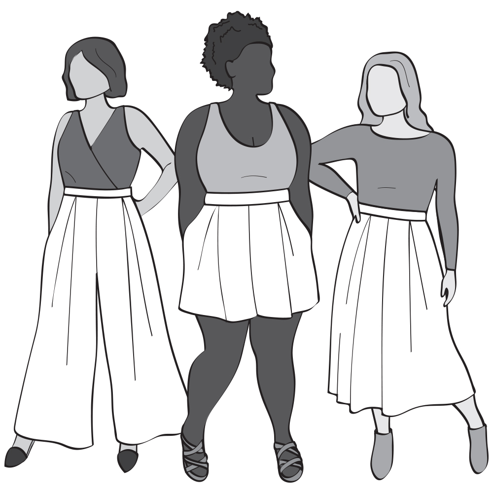 Line drawing of the Wonslow Culottes.