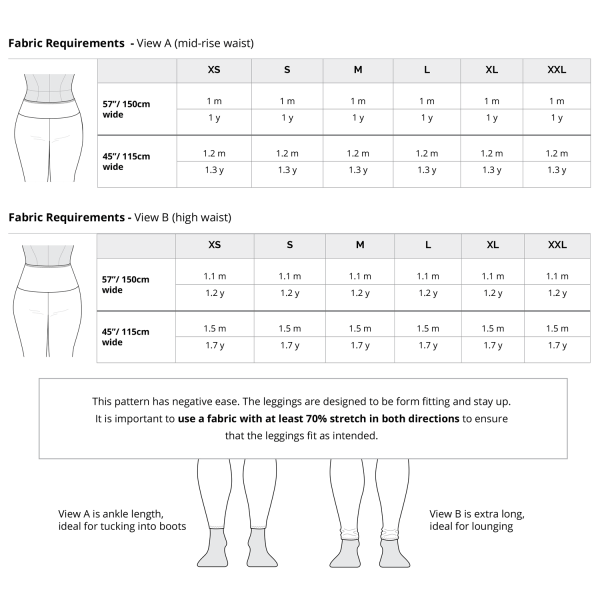 Avery Leggings Size Chart
