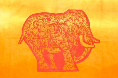 Elephant in the Room, red linocut on fabric