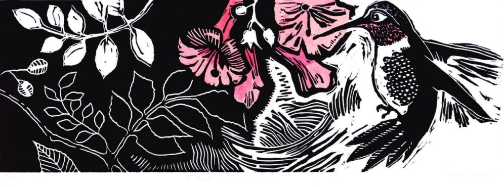 A hummingbird shares this air linocut $100