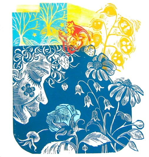 The Blue Rose linocut $150 edition of 10