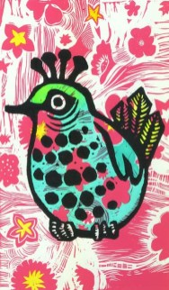 Queenie bird linocut $95