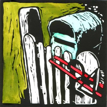 The letterbox hand coloured linocut $75 edition of 10