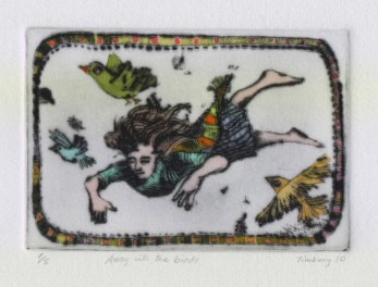 Away with the Birds hand coloured etching sold out