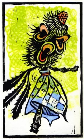 Elegant Banksia Doll linocut $100 Edition of 10