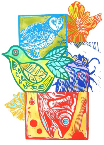 Red Fish Blue Owl linocut edition sold out