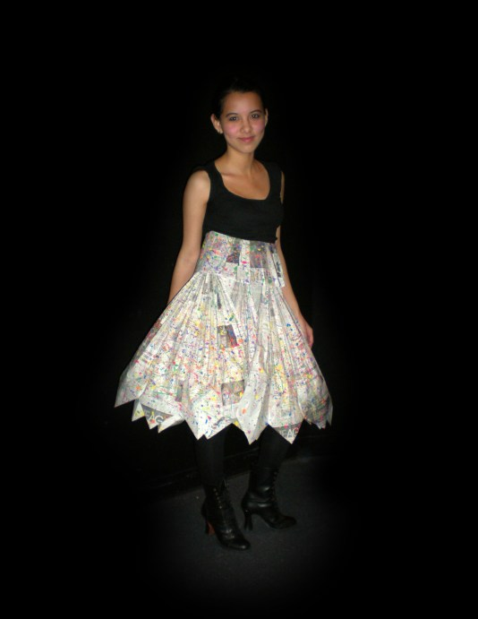 Dynamic Swirls with Newspaper by Helen Trejo, Modeled by Nidia, March 2009