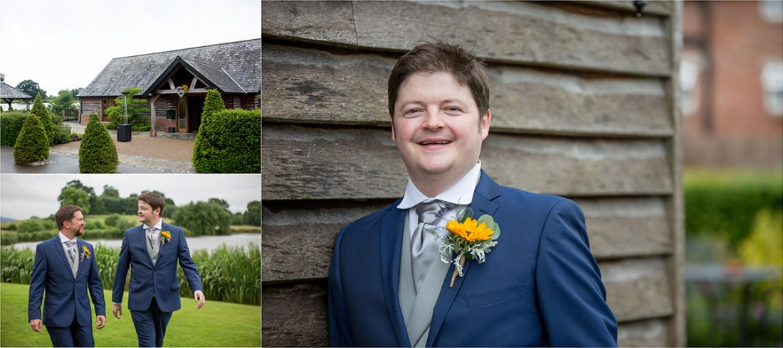 Sandhole Oak Barn, Groom and Best Man by the lake