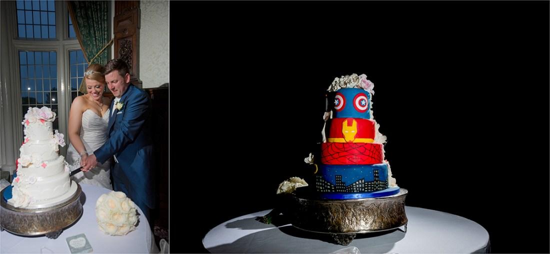 Crewe Hall Wedding Photography Cutting the Cake, Marvel Cake