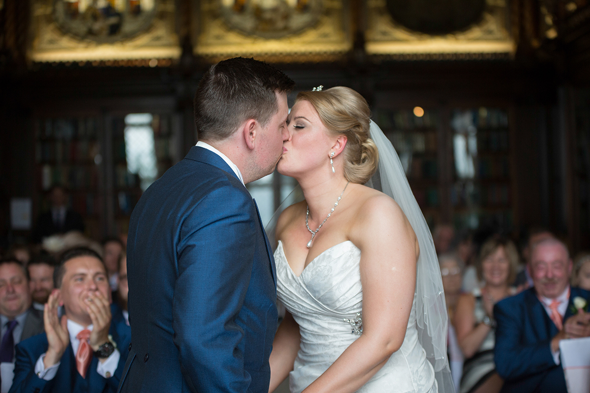 Crewe Hall Wedding Photography First Kiss at Crewe Hall by Helen Williams Photography