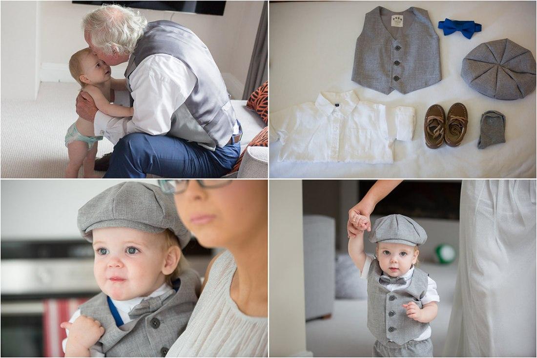 Cute page boy, bow tie, waistcoat, flat cap, toddler