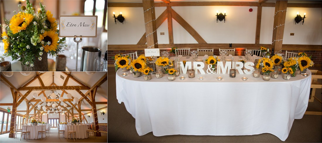 Sandhole Oak Barn Sunflower Wedding Flowers Rustic theme. Top Table