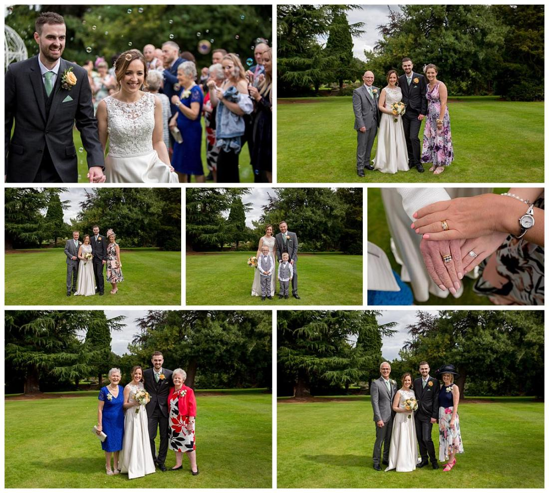 Family portraits at Mottram Hall Wedding