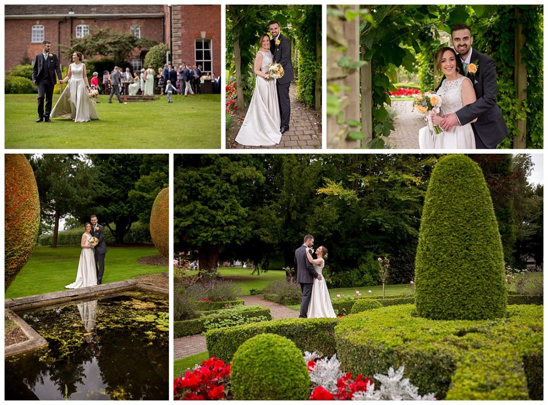Bride and groom in the gardens at Mottram Hall
