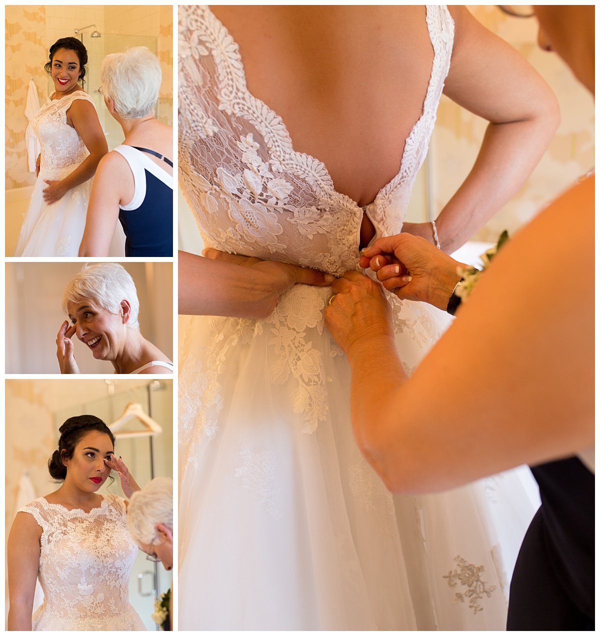 Bride getting in her dress at Iscoyd Park