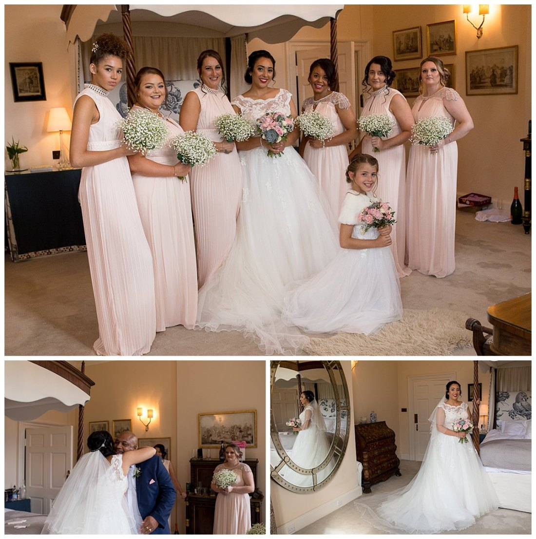Bride and bridesmaids before the wedding ceremony