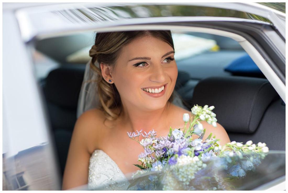 Bride arriving at her wedding at The Raithwaite Estate Whitby