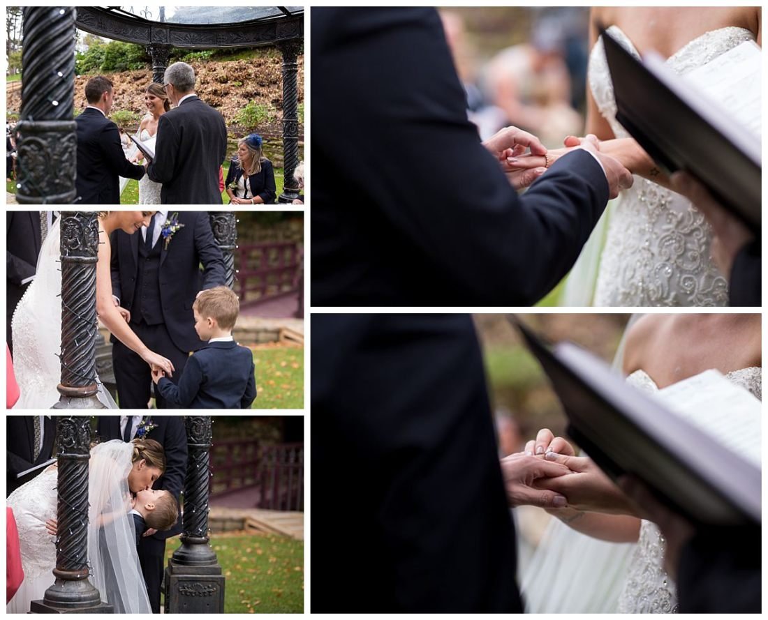 Exchanging of the rings during wedding ceremony at The Raithwaite Estate