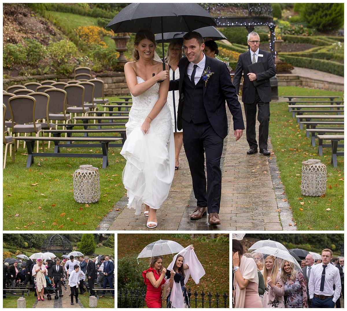 bride and groom walking down the aisle at the Raithwaite Estate