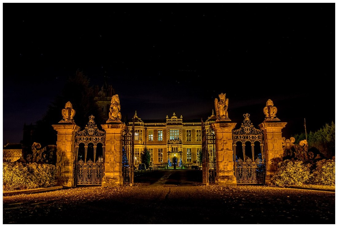 Crewe Hall at night