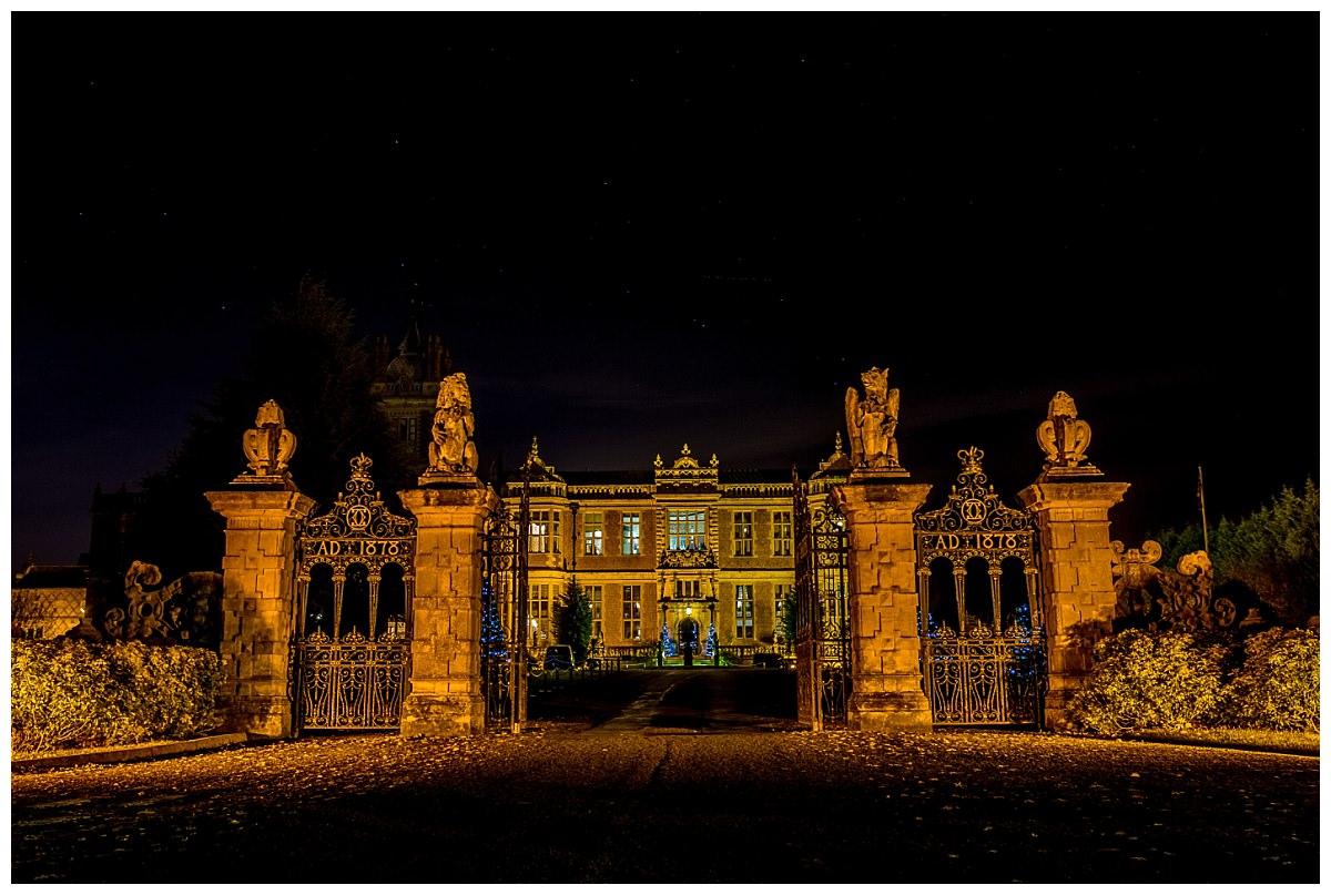 Crewe Hall at night