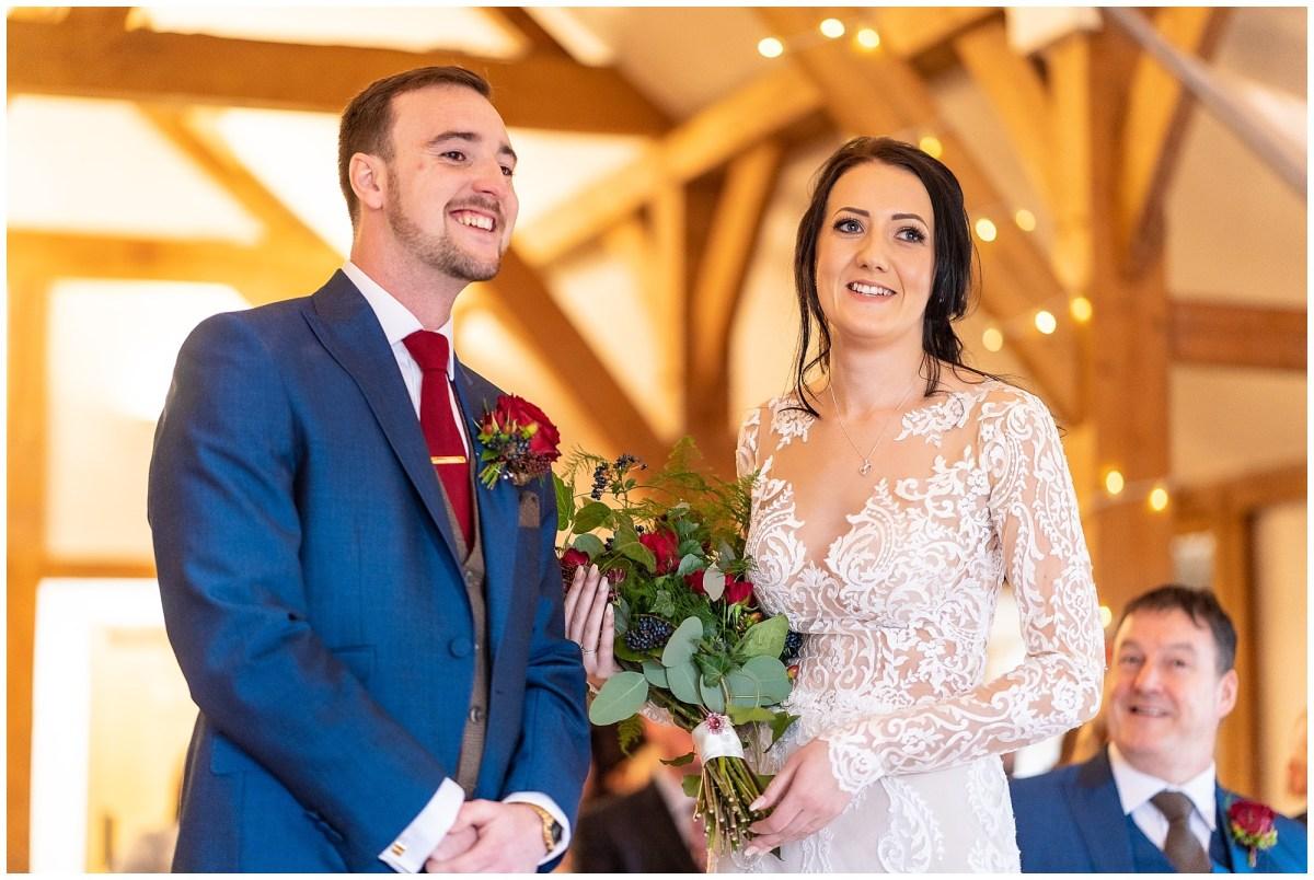 wedding ceremony at sandhole oak barn