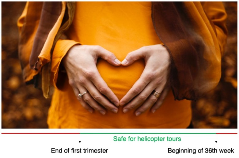 Can pregnant women go on helicopter tours?