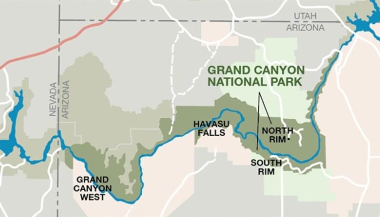 Map of Grand Canyon Rims