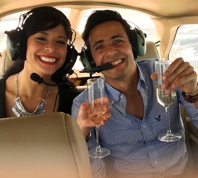 Romantic couple in helicopter