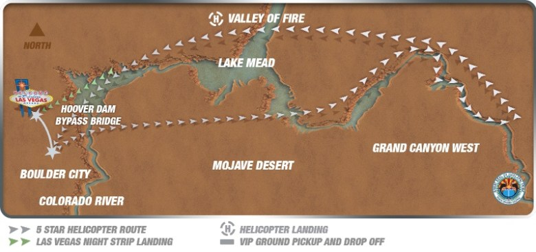Route of Grand Canyon Valley of Fire Helicopter tour
