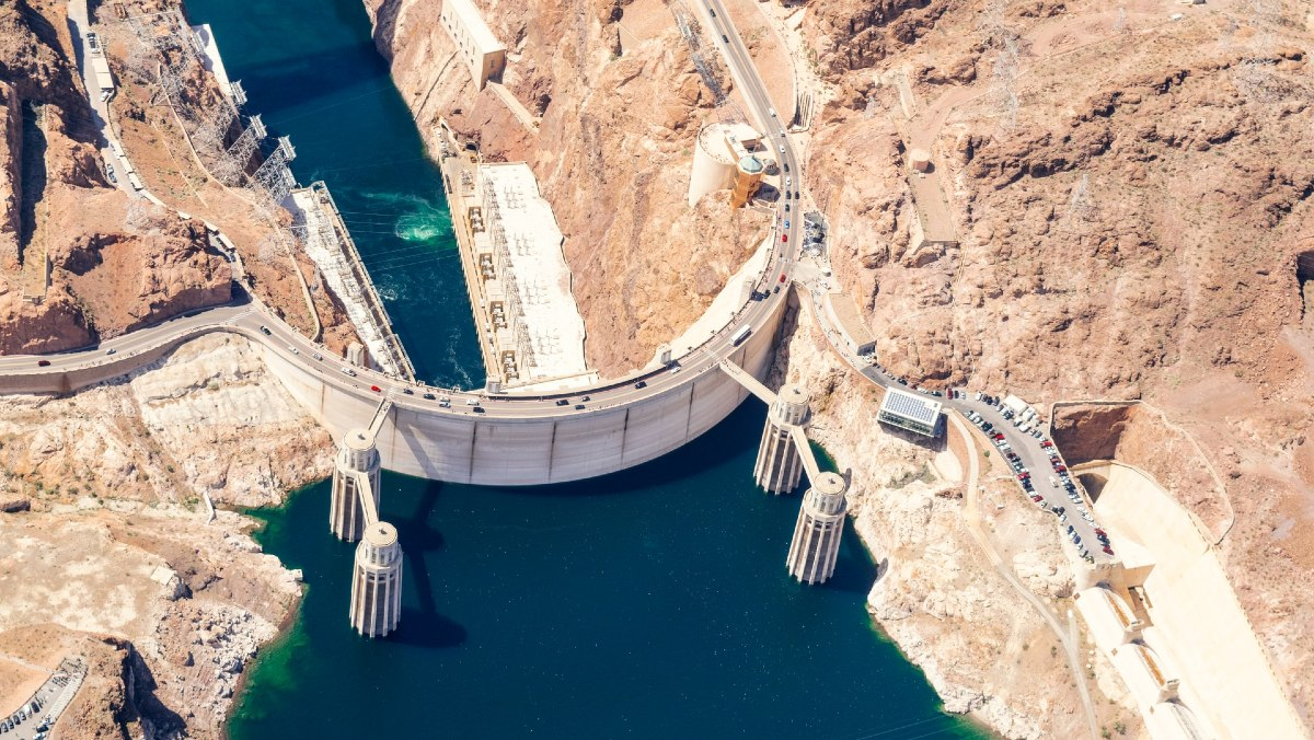 View of Hoover Dam from helicopter