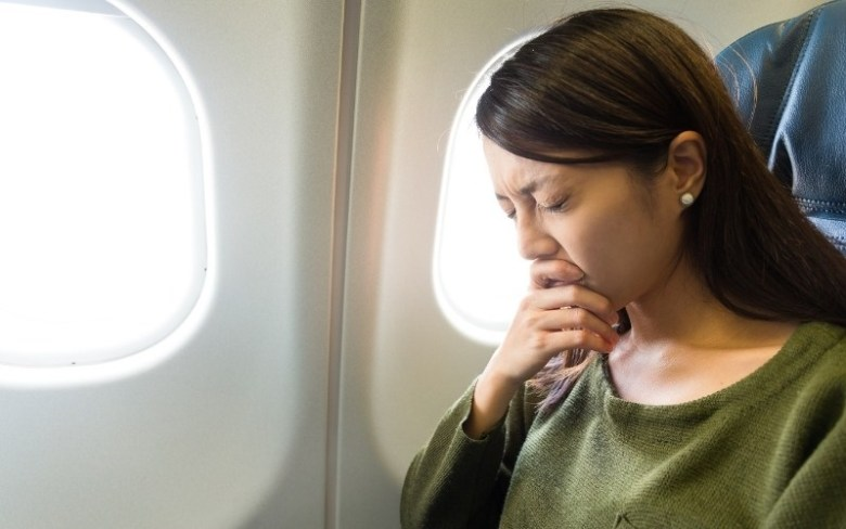 Woman with fear of flying