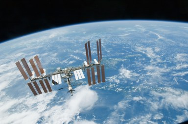 (19 Feb. 2010) --- Backdropped by EarthÕs horizon and the blackness of space, the International Space Station is featured in this image photographed by an STS-130 crew member on space shuttle Endeavour after the station and shuttle began their post-undocking relative separation. Undocking of the two spacecraft occurred at 7:54 p.m. (EST) on Feb. 19, 2010.