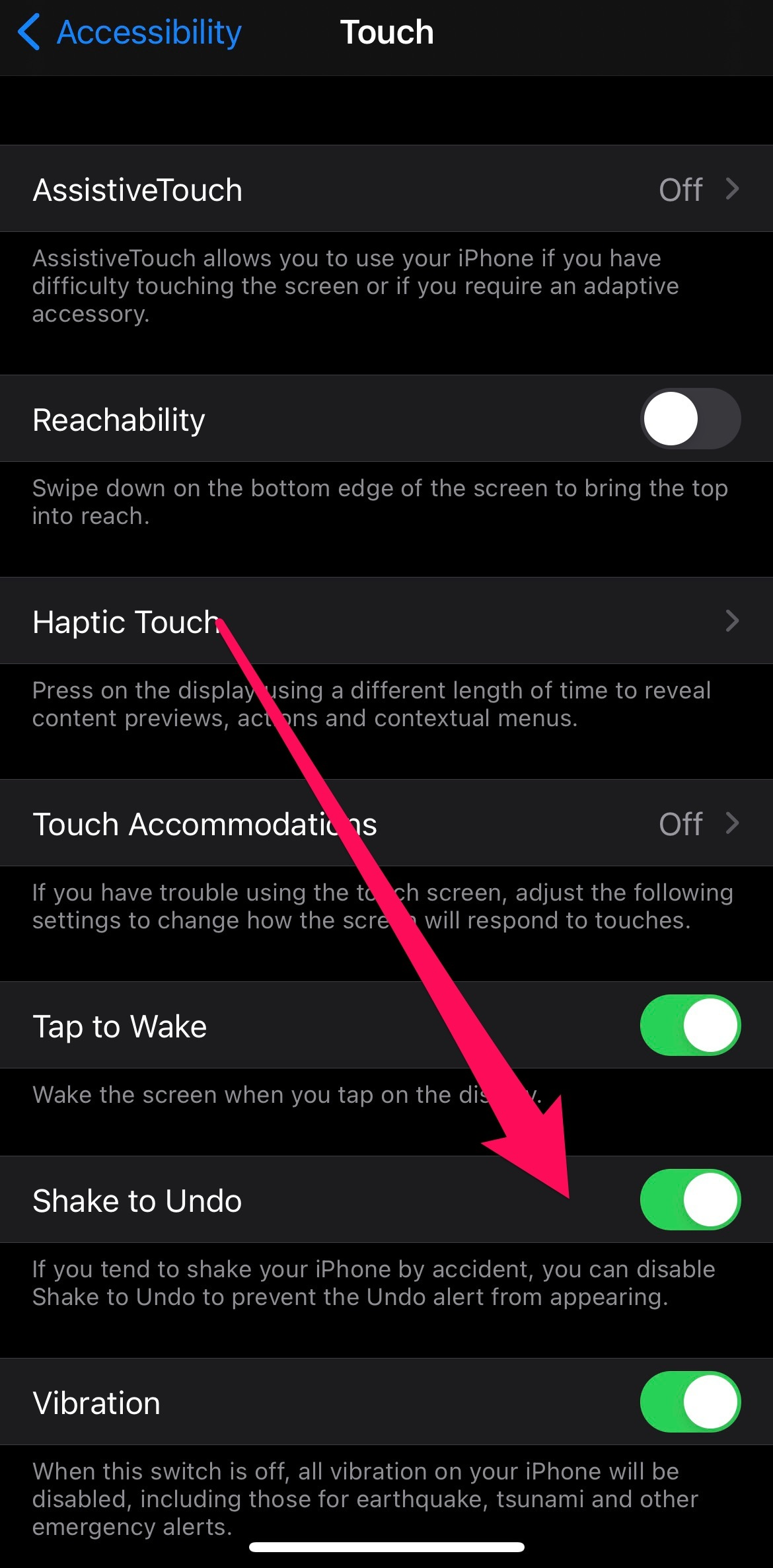 Tap the bubble to turn off Shake to Undo