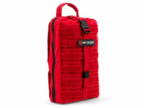 a long red first aid kit bag