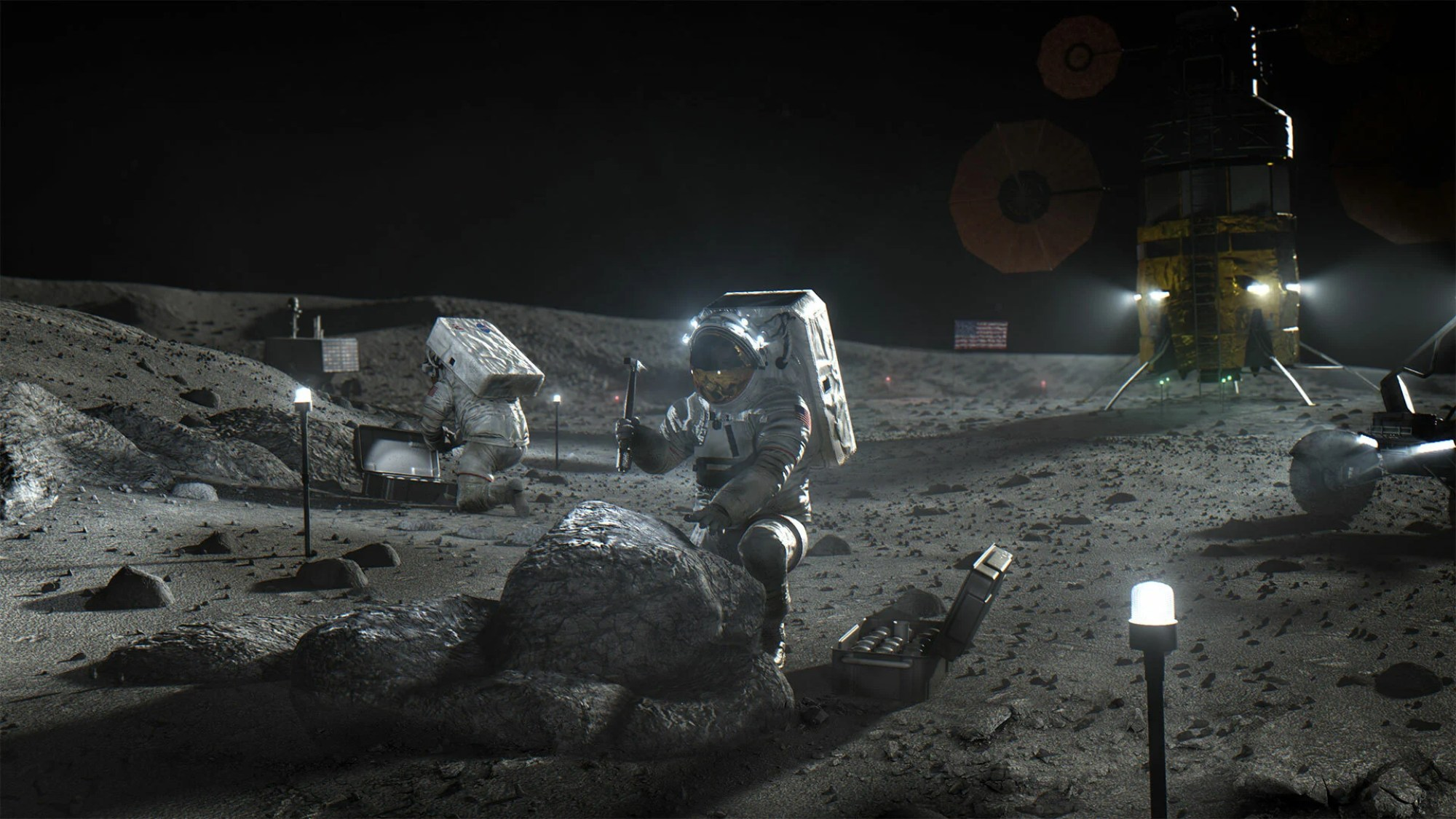 An illustration from NASA's official online materials about the Artemis program show astronauts working on the moon with a portion of a rover visible on the right.