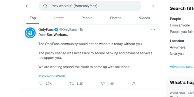 A whopping one mention of sex workers.